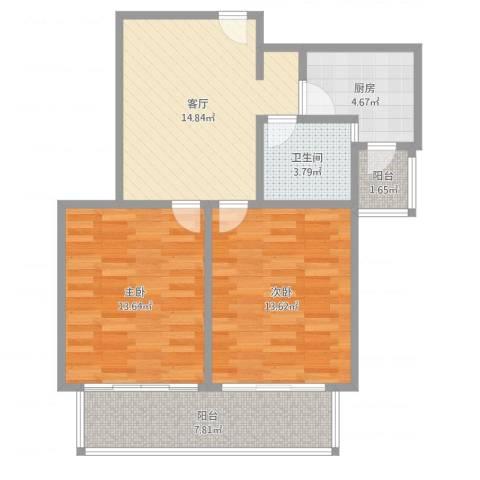 同济国康公寓2室1厅1卫1厨75.00㎡户型图