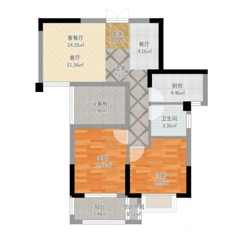 景城名郡2室2厅1卫1厨89.00㎡户型图