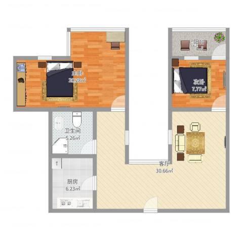 和辉花园2室1厅1卫1厨93.00㎡户型图