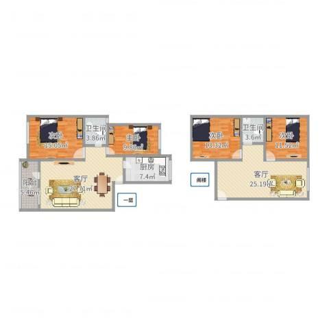 北桥春天4室2厅2卫1厨154.00㎡户型图