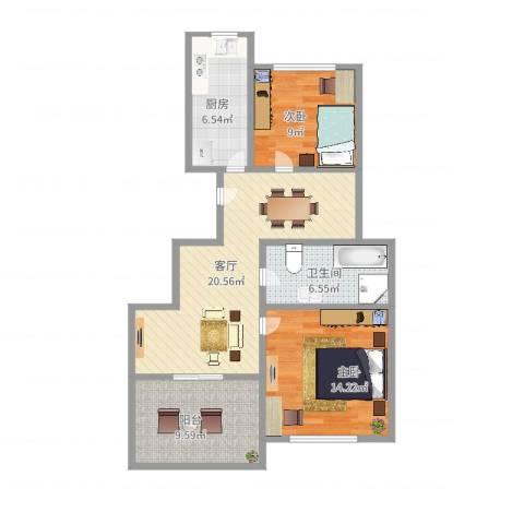 上大阳光乾恩园2室1厅1卫1厨83.00㎡户型图