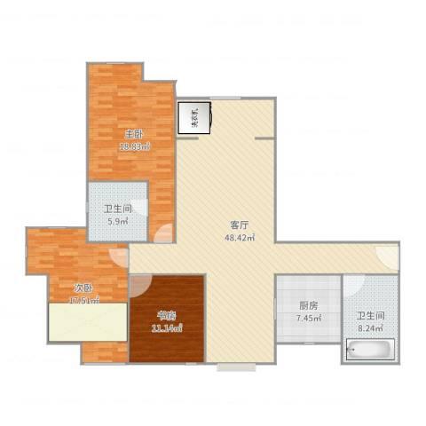 徐州鼓楼广场3室1厅2卫1厨147.00㎡户型图