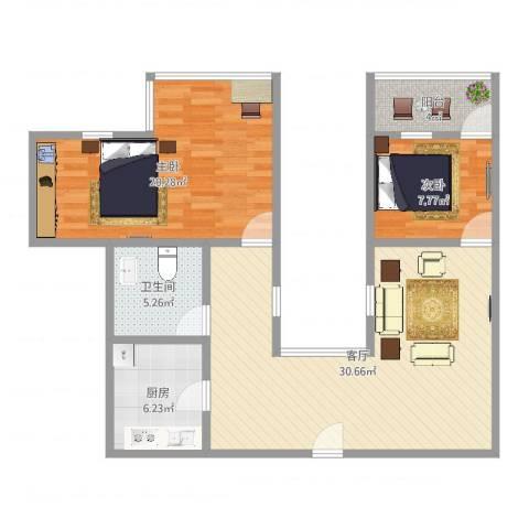 和辉花园2室1厅1卫1厨104.00㎡户型图