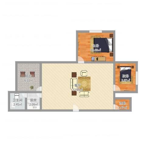 海逸苑3室1厅1卫1厨76.00㎡户型图