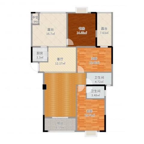运河名都3室1厅2卫1厨154.00㎡户型图