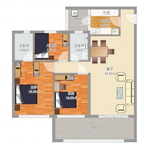 天悦城3室1厅2卫1厨139.00㎡户型图