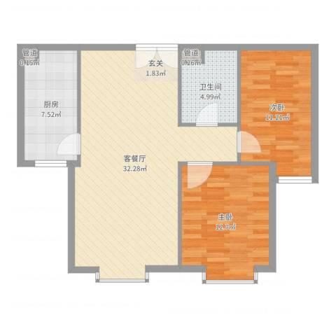 园艺御景2室2厅1卫1厨86.00㎡户型图