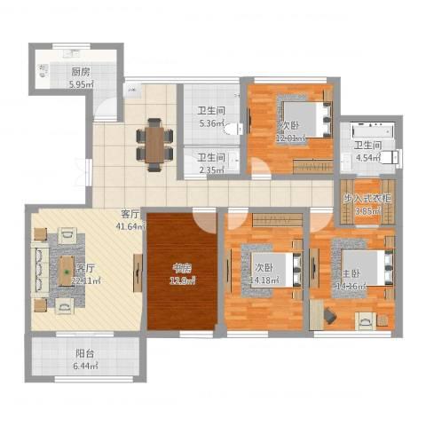 五洲龙湾4室1厅3卫1厨154.00㎡户型图