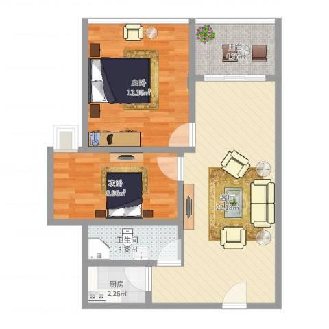 丹枫雅苑2室1厅1卫1厨68.00㎡户型图
