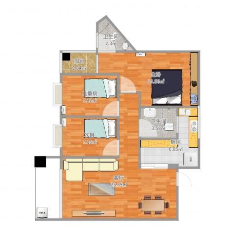 东方花园又一居3室1厅2卫1厨102.00㎡户型图