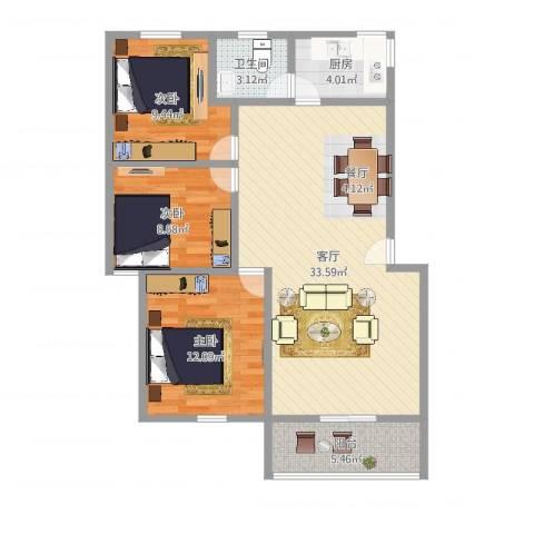 碧涛居3室1厅1卫1厨95.00㎡户型图
