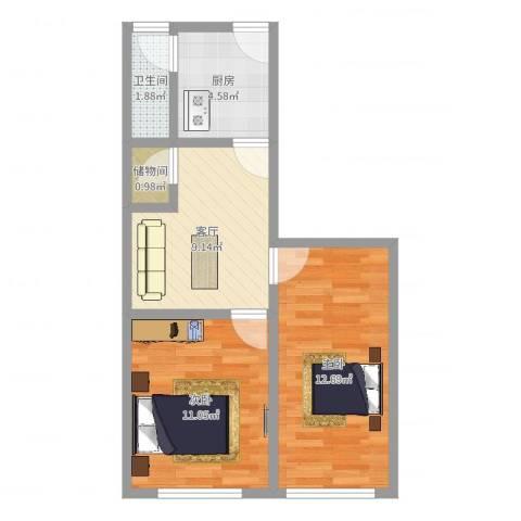 潍坊六村2室1厅1卫1厨50.00㎡户型图