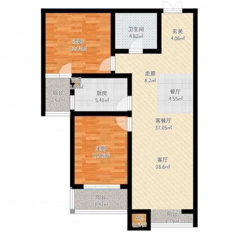 水岸茗苑2室2厅1卫1厨97.00㎡户型图