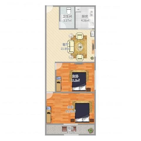 麒麟花园2室1厅1卫1厨76.00㎡户型图