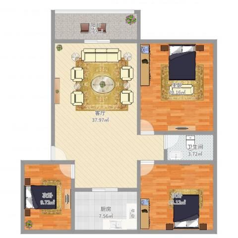 麒麟花园3室1厅1卫1厨126.00㎡户型图