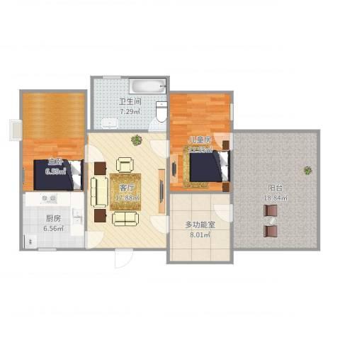 蔚蓝星湖1室1厅2卫1厨103.00㎡户型图