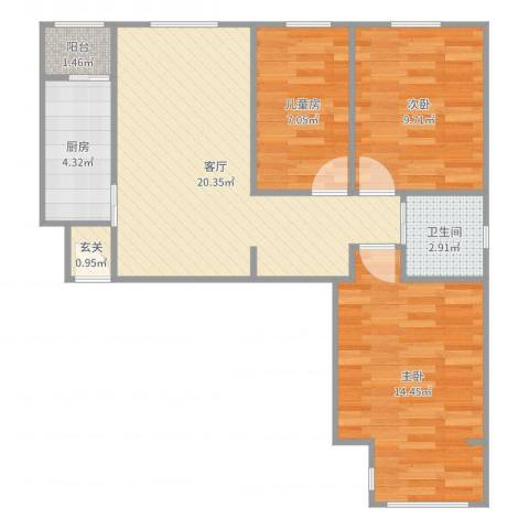 同馨家园3室1厅1卫1厨77.00㎡户型图