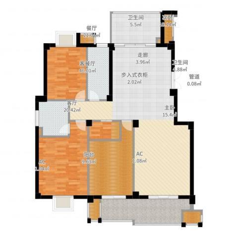 望湖公馆2室2厅2卫1厨148.00㎡户型图