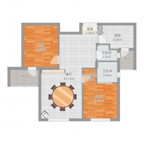 华茂品江2室1厅2卫1厨88.00㎡户型图