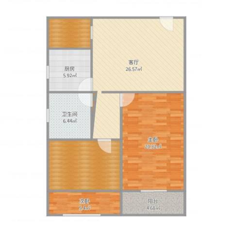共和四村2室1厅1卫1厨107.00㎡户型图