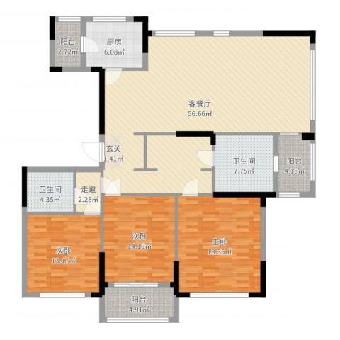 金地澜悦3室2厅2卫1厨168.00㎡户型图