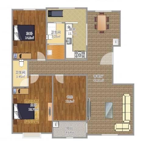 越秀园3室2厅2卫1厨150.00㎡户型图