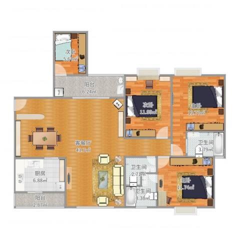 凤凰城4室2厅3卫1厨141.00㎡户型图