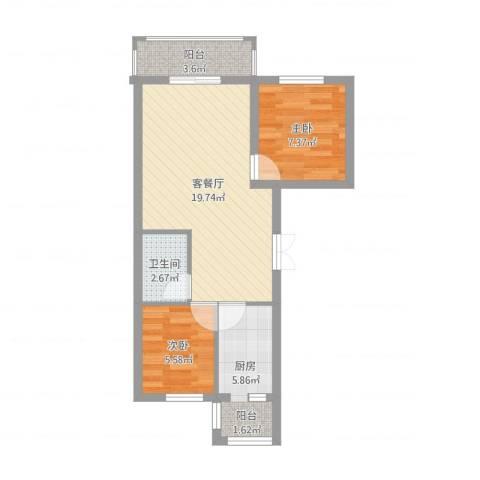 嘉兴闽江国际项目2室2厅1卫1厨56.00㎡户型图