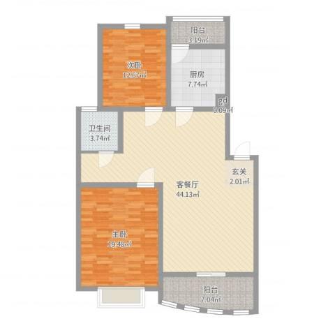 天惠爱丁堡公馆2室2厅1卫1厨123.00㎡户型图