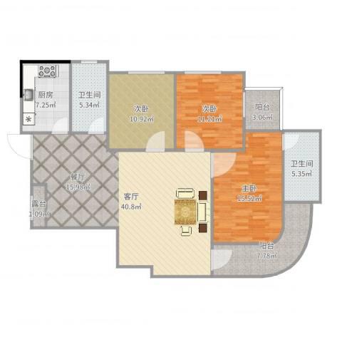 利景花园3室1厅2卫1厨135.00㎡户型图