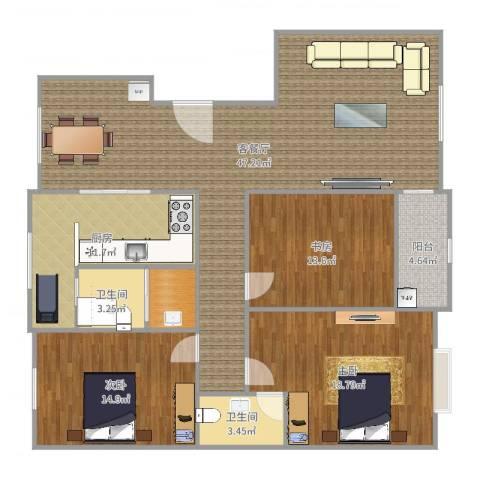 越秀园3室2厅3卫1厨150.00㎡户型图