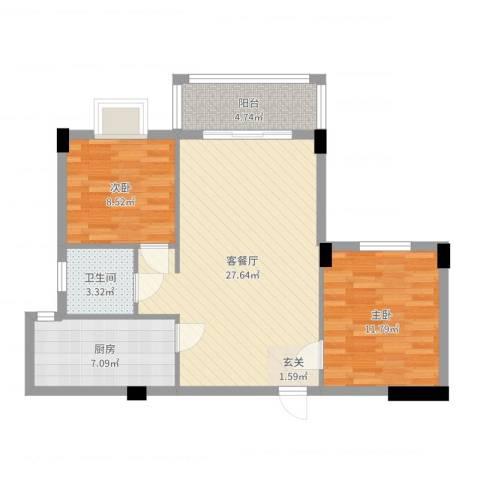 昌润・嘉和苑2室2厅1卫1厨79.00㎡户型图