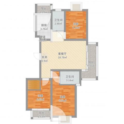 香江生态丽景3室2厅3卫1厨76.00㎡户型图