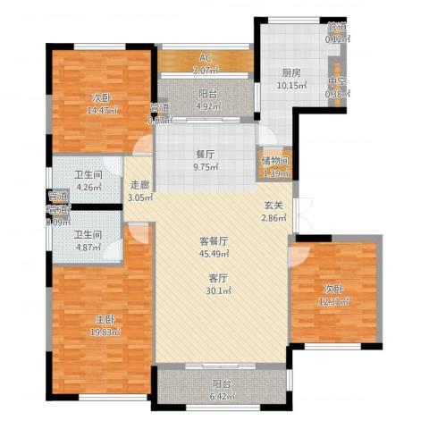 太湖锦园3室2厅2卫1厨160.00㎡户型图