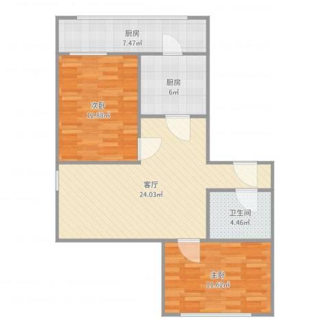 詹滨里2室1厅1卫2厨83.00㎡户型图