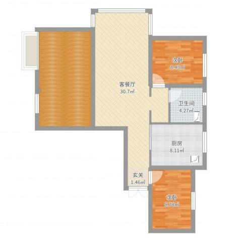 新希望乐城2室2厅1卫1厨99.00㎡户型图