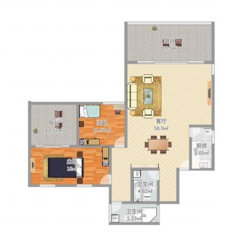 南洲名苑2室1厅2卫1厨168.00㎡户型图