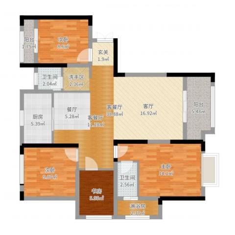 平安光谷春天4室2厅3卫1厨121.00㎡户型图