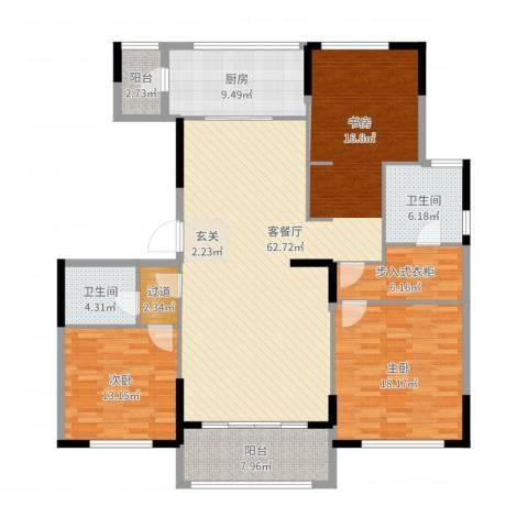 金地澜悦2室2厅2卫1厨167.00㎡户型图