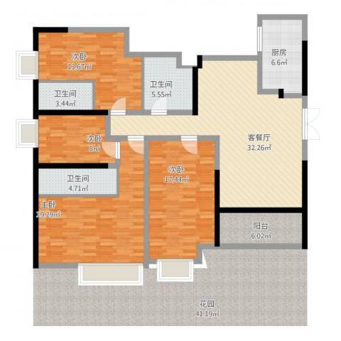 正德天水湖4室2厅3卫1厨168.00㎡户型图