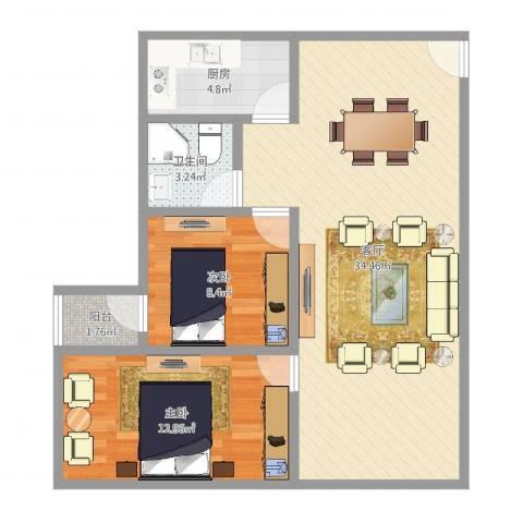 锦满楼2室1厅1卫1厨82.00㎡户型图