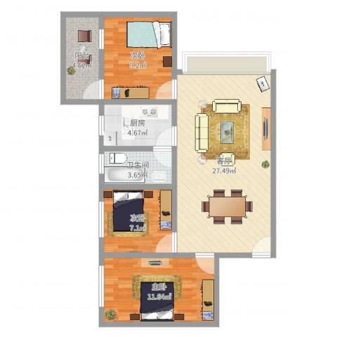 侨燕苑3室1厅1卫1厨85.00㎡户型图