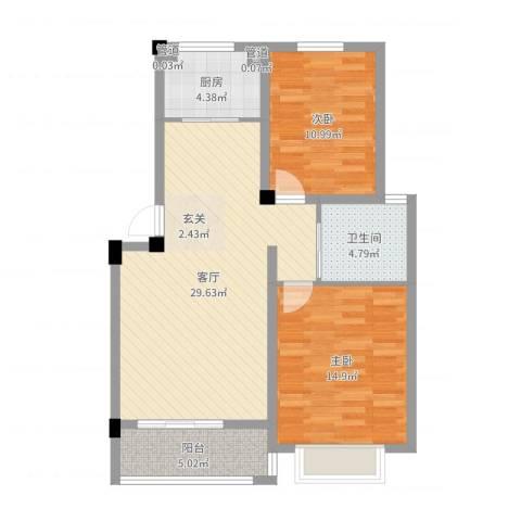 东昌玉龙公馆2室1厅1卫1厨87.00㎡户型图