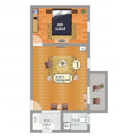 凤安花园1室2厅1卫1厨52.00㎡户型图