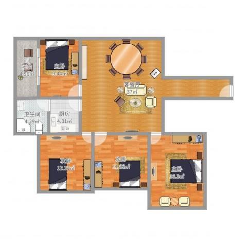 房建大厦4室2厅1卫1厨125.00㎡户型图