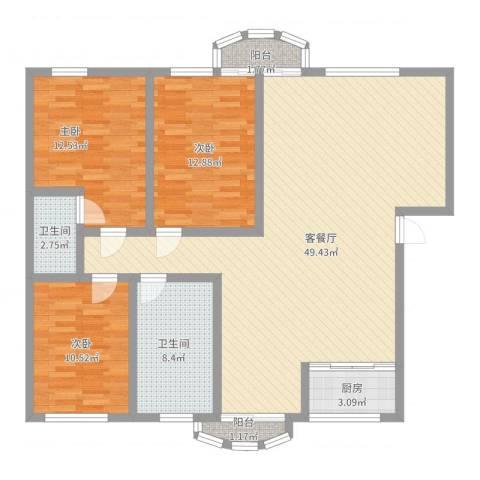 今日家园二期3室2厅2卫1厨147.00㎡户型图