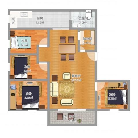 心谊路发改委宿舍4室2厅1卫1厨93.00㎡户型图