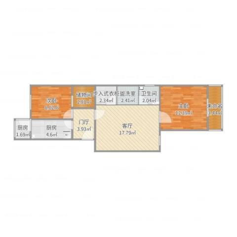 杨庄北区2室3厅1卫2厨84.00㎡户型图