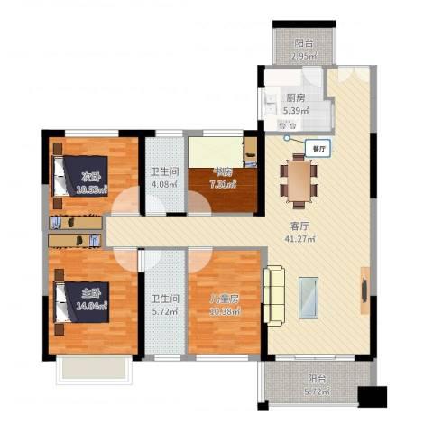 锦绣龙湾4室1厅2卫1厨152.00㎡户型图