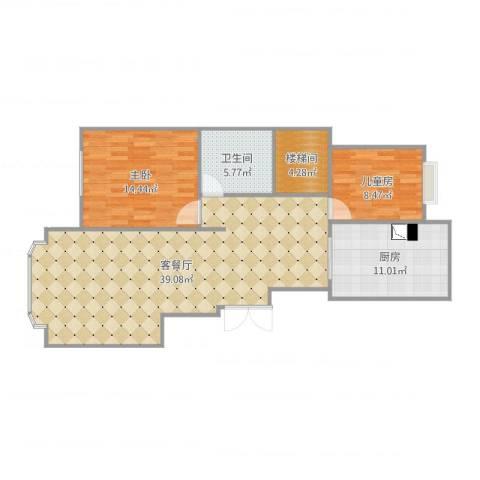 山水文园西园2室2厅1卫1厨104.00㎡户型图